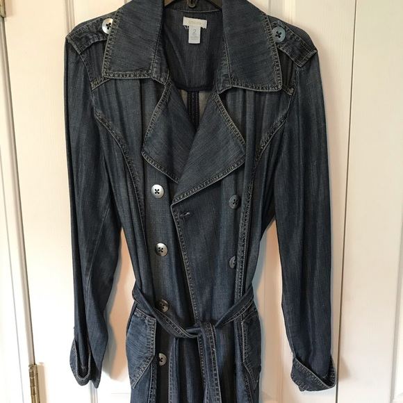 Chico's Jackets & Blazers - Chico's Unlined Blue Jean trench jacket with belt